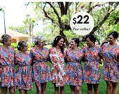 Set of 7, Bridesmaid robes, kimono crossover, bridesmaid gift, handmade, floral, bridal shower, wedding.