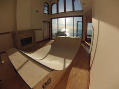 Mini Ramp In the house.  Skateboarding in the living room