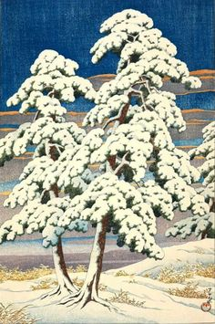Pine Tree after Snow, by Kawase Hasui, 1929 -- http://www.ebay.com/itm/Kawase-Hasui-Pine-Tree-after-Snow-Japanese-Woodblock-Print-/131137064613