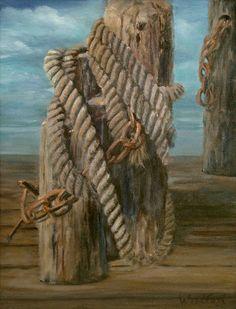 'Nautical Rope' - 9 x 12 original oil painting by artist Billye Woodford.