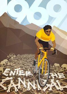 Velo-Poster 178: «Eddy Merckx, Tour de France 1969». 1969 startete Eddy Merckx erstmals an der Tour de France und dominierte das wichtigste Radrennen der Welt. Am letzten Tag in Paris hätte Merckx das maillot jaune des Gesamtsiegers, das Grüne Trikot des Punktbesten und das gepunktete Trikot des besten Bergfahrers übereinander tragen können. Bis 1978 trug Merckx das maillot jaune 96 Tage (Rekord) und holte 34 Etappensiege (Rekord).