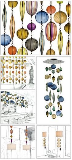 handmade glass pendants as a beaded room divider