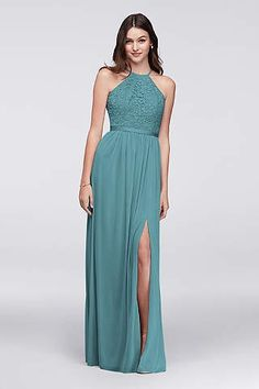Open-back lace and mesh bridesmaid dress in a beach appropriate shade: teal blue. Shop this bridesmaid dress at David's Bridal