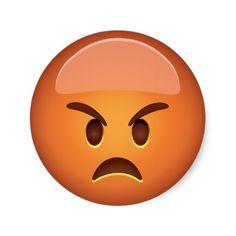 Pouting Face Emoji Round Sticker