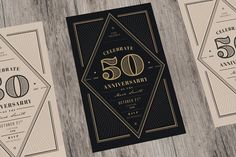 Vintage Anniversary Invitation by Guuver on @creativemarket