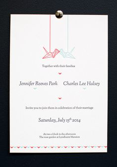 Paper Crane Wedding Invitation Peach And Navy Earthereal