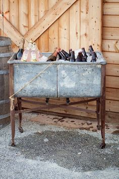 Vintage washtub as a beverage stop for your next party!