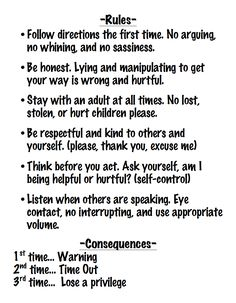 Common Parenting Rules that Should be Broken House rules for summer 2013- 6 rules for a 6 year-old boy. All phrased in the positive.