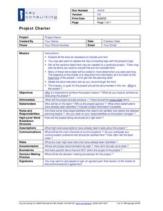 Project Management Charter Template Project Charter Template - Project Charter Template - Hashdoc