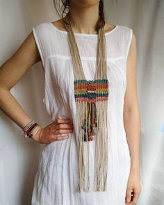 Stunning woven tribal necklace, nomad style, with large sterling silver engraved bead on colorful jute and hemp cord. Colors: ocean and sky blue, rusty red,. Macrame Colar, Macrame Necklace, Tribal Necklace, Tribal Jewelry, Bohemian Jewelry, Western Jewelry, Macrame Jewelry, Bohemian Gypsy, Textile Jewelry