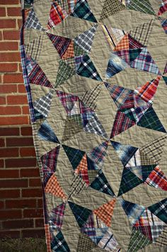 Thrifted Plaid Quilt or save the good pieces off any shirts the DH gets rid of…