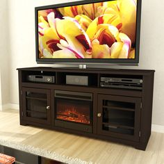 Sonax F-192-BWT West Lake TV Stand with Fireplace Insert
