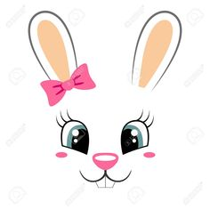 Cute bunny with pink bow. Girlish print with rabbit face for. - Cute bunny with pink bow. Girlish print with rabbit face for t-shirt Stock Vector – 73835423 Cute - Bunny Crafts, Easter Crafts, Holiday Crafts, Diy Ostern, Bunny Face, Easter Projects, Cute Bunny, Easter Bunny, Painted Rocks