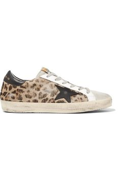 GOLDEN GOOSE Super Star distressed leather-paneled calf hair sneakers.   goldengoose  shoes 3002f7f2bcc