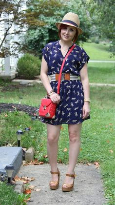 Thrift and Shout: Cute Outfit of the Day; dress from Clothes Mentor, Forever 21 purse, thrifted Target hat and shoes