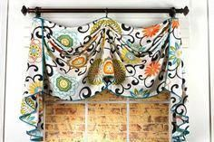 Sewing Curtains This valance style for the breakfast bay window, but in black No Sew Valance, No Sew Curtains, Rod Pocket Curtains, Window Curtains, Window Shutters, Bay Window, Fancy Curtains, Window Rods, Scarf Valance