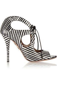 Aquazzura C'est Chic striped elaphe sandals | THE OUTNET