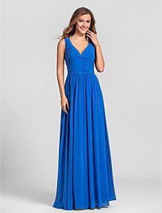 Sheath/Column V-neck Floor-length Georgette Bridesmaid Dress... – AUD $ 96.07 lightinthebox