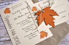 Fall Autumn Wedding Invitations Fall Wedding! But imagine this with some purple :)