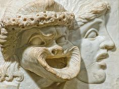 Carved Marble Relief depicting tragic and comic masks Roman 2nd ...