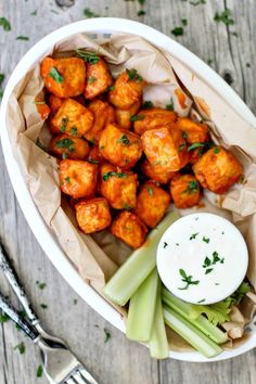 Crispy Buffalo Tofu Bites With Garlicky Yogurt + Feta Dip | Killing Thyme