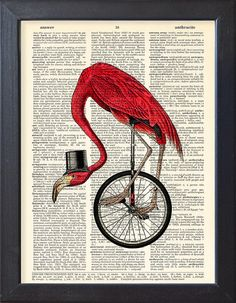 Flamingo Art print, Flamingo with bicycle Vintage book page print, Dorm decor, Gift, Home Wall Decor, Dictionary Pages, Book pages, CODE/186