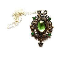 SALE, Zelena necklace, Once upon a time, wicked witch pendant, emerald Necklace, fairytale pendant, ouat necklace, emerald pendant