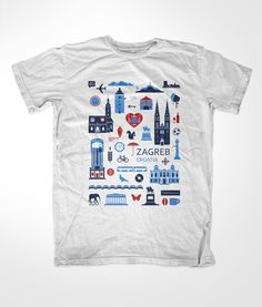 Rajčica is a project whose objective is to create and design Croatian souvenirs. T-shirts are one of the main product – the role of their design is to promote Croatia and its cities such as Zagreb. Retro Shirts, Boys Suits, Tee Design, Graphic Design, Kids Prints, T Shirts With Sayings, Apparel Design, Design Reference, Shirt Designs