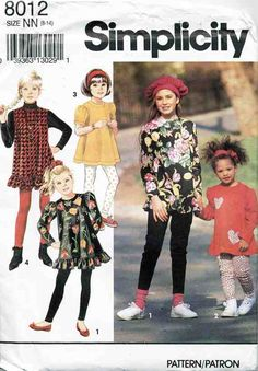 Simplicity Sewing Pattern 8012 Girls & Childrens Leggings and Tops Size NN 8-14 Used
