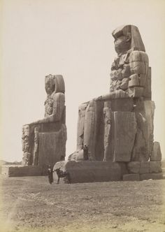 The Colossi of Memnon, Thebes, Egypt, photo by Antonio Beato. Ancient Aliens, Ancient Art, Ancient Egypt, Ancient History, Amenhotep Iii, Luxor, Old Egypt, Getty Museum, Ancient Mysteries