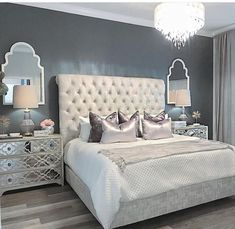25 Exquisitely Admirable Modern French Bedroom Ideas To Steal. Check out these fascinating modern French bedroom ideas to bring the style of your home to a whole new level! Glam Bedroom, Cozy Bedroom, Home Decor Bedroom, Bedroom Furniture, Bedroom Ideas, Grey Furniture, Bedroom Designs, Furniture Design, White Bedroom
