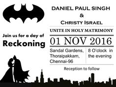 Galarena - Wedding Invitation  BATMAN  - Wedding Invitation