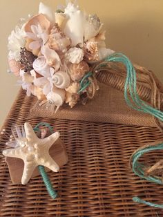 Nautical Seashell Bouquet With Colored Pearls By BeachBasketBride 9500