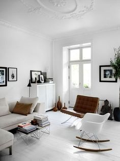 Neutral yet bold. Loving the brown touches, especially the leather couch. - interior designs | design and ideas  #KBHomes