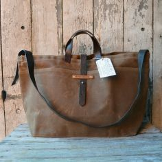 Large Waxed Canvas Tote from Peg and Awl