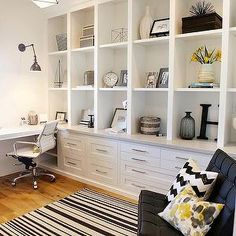 office built ins around window * office built ins ; office built ins bookshelves ; office built ins around window ; office built ins desk ; office built ins with desk ; office built ins bookcase wall ; Home Office Space, Home Office Design, Home Office Decor, House Design, Home Decor, Office Ideas, Desk Ideas, Small Office, White Office
