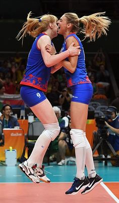 Serbia's Brankica Mihajlovic and Jovana Stevanovic celebrate after winning the…