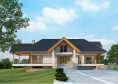 House with attic in modern style with usable area House with a large garage. Minimum size of a plot needed for building a house is m. House Plans Mansion, Cottage Style House Plans, Bungalow House Design, Cottage Plan, Modern House Plans, Minimal House Design, Classic House Design, Simple House Design, Roof Styles