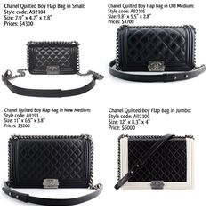 Chanel Boy Bag sizes and prices
