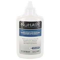 NuHair Thinning Hair Serum for Men & Women 3.1 Ounce Bottle - Pack of 3 by NuHair. $32.99. NuHair® Extra Strength Thinning Hair Serum is a natural nutrient booster for fine and thinning hair.. Rejuvenates and strengthens thin, lifeless hair. Delivers vital nutrients to nourish the scalp. Helps restore shine and fullness. Is safe and effective for men and women. NuHair® Extra Strength Thinning Hair Serum utilizes a lipoceutical, time-released multiphase delivery technolo...
