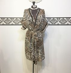 1990's Leopard Print Sheer Pin Up Robe, Size Large XL, Vintage Leopard Print…