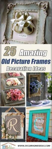 Advertisements 25 Amazing Creative Ways To Use Old Picture Frames Empty Picture Frames, Antique Picture Frames, Wooden Picture Frames, Antique Frames, Old Frames, Picture On Wood, Crafts With Picture Frames, Antique Decor, Decorating With Pictures