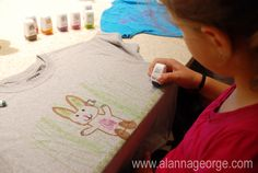 Kids love decorating t-shirts! Fabric markers and stamps make it so easy!