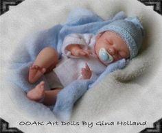 OOAK Clay Baby Dolls | OOAK Polymer Clay Baby Boy Art Doll Mini By Gina Holland