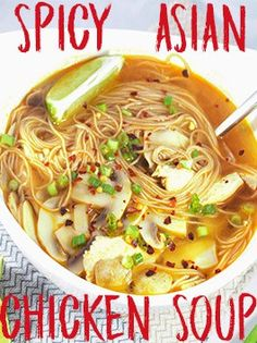 This spicy Asian chicken noodle soup has the right amount of flavor and so filling. It's the perfect time of year to cuddle up and enjoy this tasty soup. #asian #soup #chickensoup #spicysoup