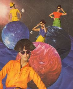 "vintagefashionandbeauty: "" ""Hatchlings"", a space age fashion collage by Mary Beth Acosta. Fashion Collage, Retro Aesthetic, Retro Futurism, Retro Art, Wall Collage, Creative Inspiration, Art Inspo, Art Reference, Artsy"
