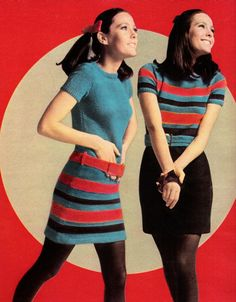 """November 1967. """"The hand-knit trick dress: it's the knack of the season and you can do it yourself."""" ~ American Wool Council"""