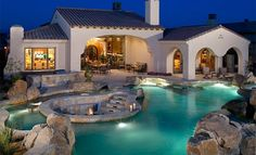 We have gathered 38 backyard pool ideas installed by some pool designers. These swimming pool design ideas will transform your backyard into an outdoor oasis. Swimming Pool Decks, Swimming Pool Designs, Sunken Fire Pits, Dream Pools, Mediterranean Homes, Outdoor Fire, Outdoor Living, Outdoor Pool, Outdoor Seating