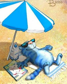 Happy Paintings, Dog Paintings, Funny Cats And Dogs, Cats And Kittens, Cute Good Morning Quotes, Cute Cat Illustration, Parasols, Cat Aesthetic, Cute Animal Drawings