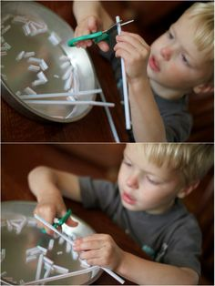 Thread a necklaces with pieces of straws. Toddlers and preschoolers can do this side by side. Let your preschooler cut the pieces themselves.